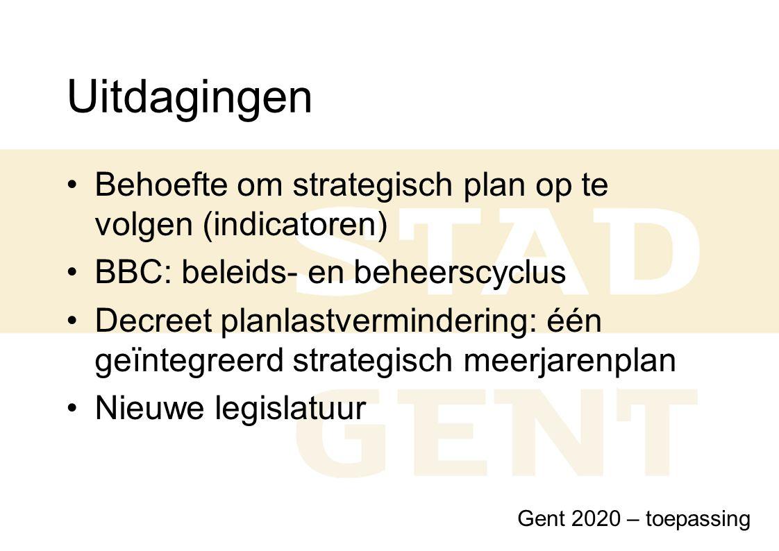 Uitdagingen Behoefte om strategisch plan op te volgen (indicatoren) BBC: beleids- en beheerscyclus Decreet planlastvermindering: één geïntegreerd stra