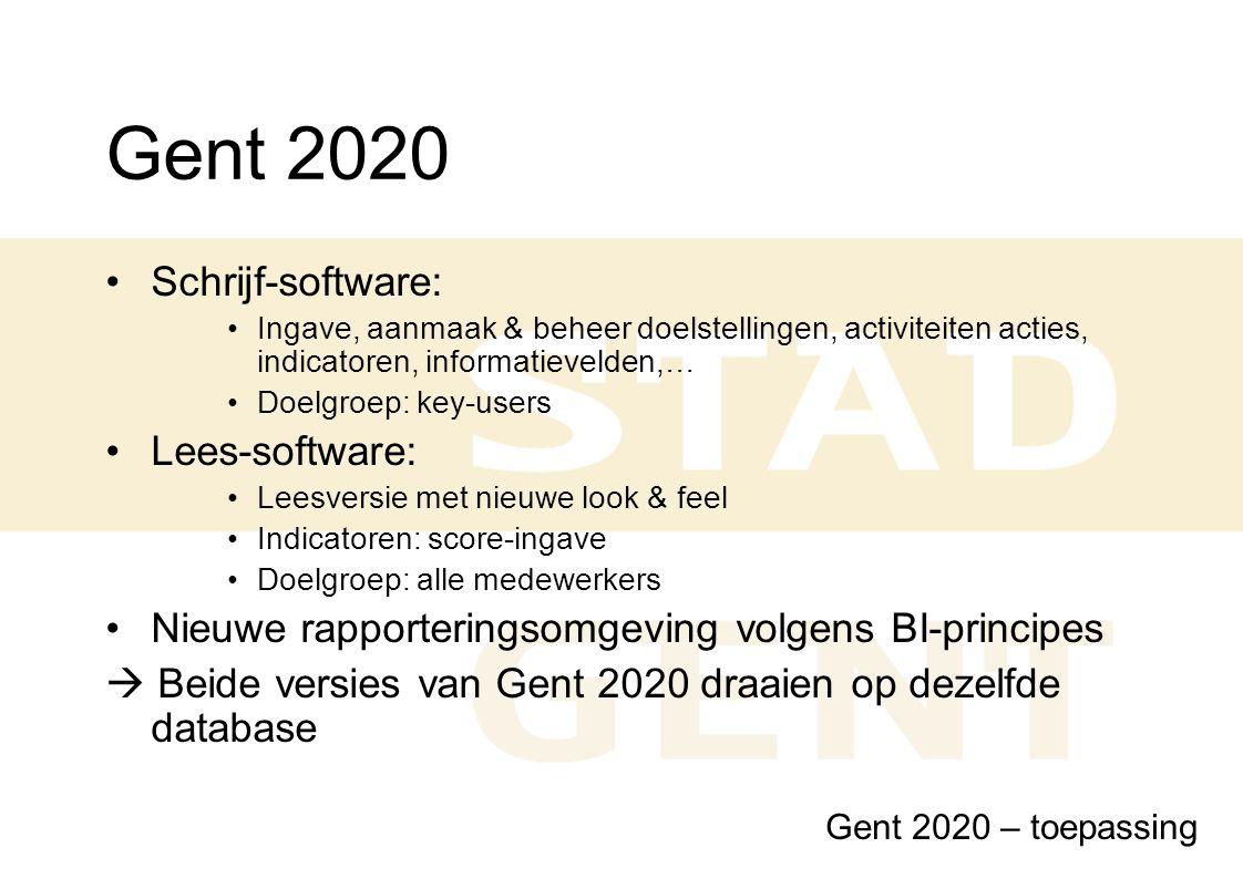 Gent 2020 Schrijf-software: Ingave, aanmaak & beheer doelstellingen, activiteiten acties, indicatoren, informatievelden,… Doelgroep: key-users Lees-so