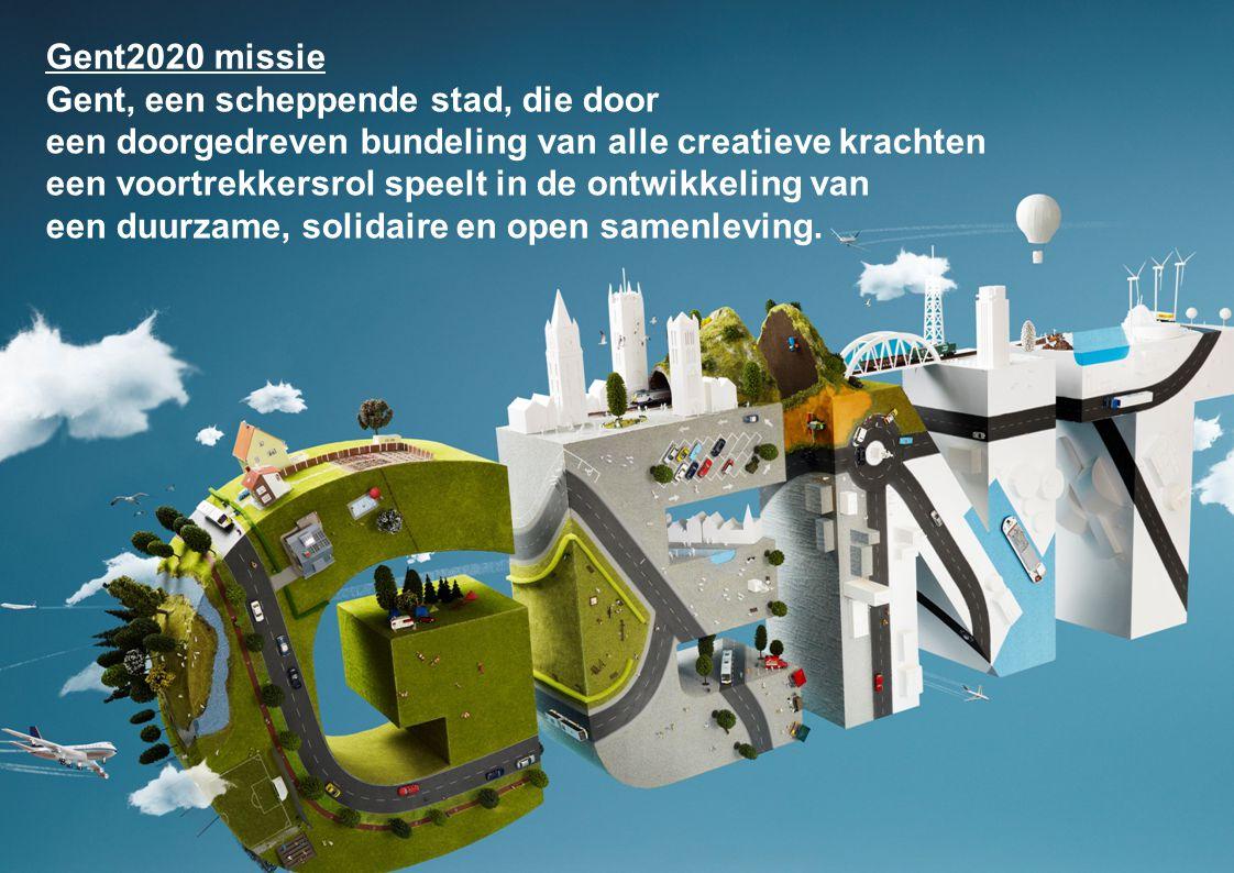 5 wegen naar Gent 2020 Kennis, innovatie en creativiteit Sociale duurzaamheid Economische duurzaamheid Ruimtelijke en ecologische duurzaamheid Communicatie en inspraak Gent 2020