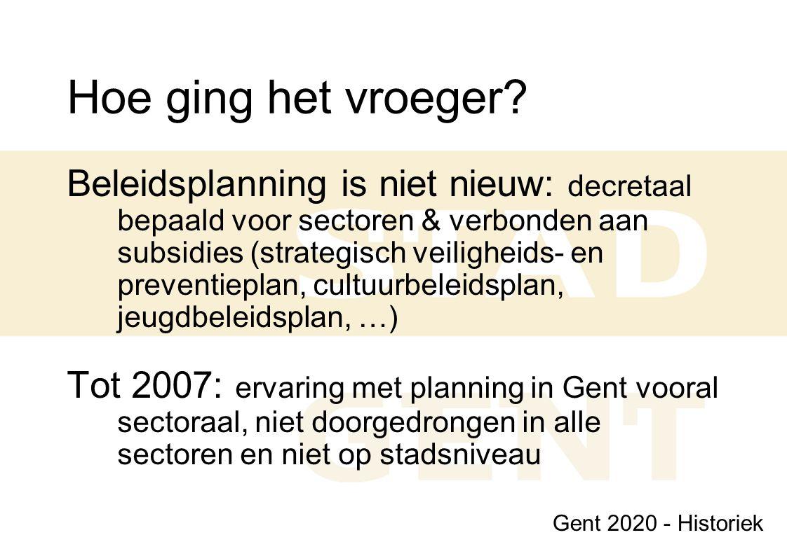 Niveaus van planning (1) 1.Hoofdstrategische doelstellingen  2020 2.Strategische programma's  2020 3.Beleidsnota's  legislatuur 4.Strategische doelstellingen  lange termijn (ca 5 jaar) 5.Operationele doelstellingen  middellange termijn (ca 2-3 jaar)