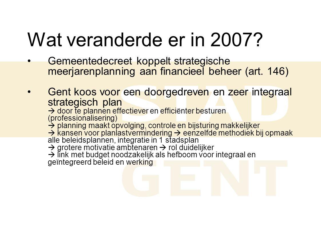 Wat veranderde er in 2007? Gemeentedecreet koppelt strategische meerjarenplanning aan financieel beheer (art. 146) Gent koos voor een doorgedreven en