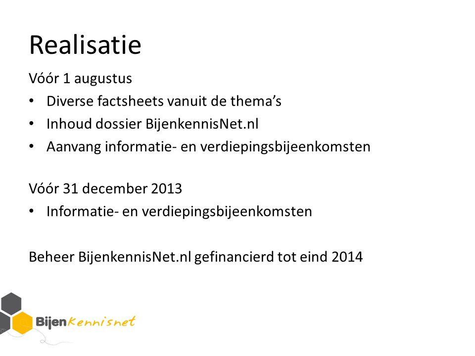 Realisatie Vóór 1 augustus Diverse factsheets vanuit de thema's Inhoud dossier BijenkennisNet.nl Aanvang informatie- en verdiepingsbijeenkomsten Vóór