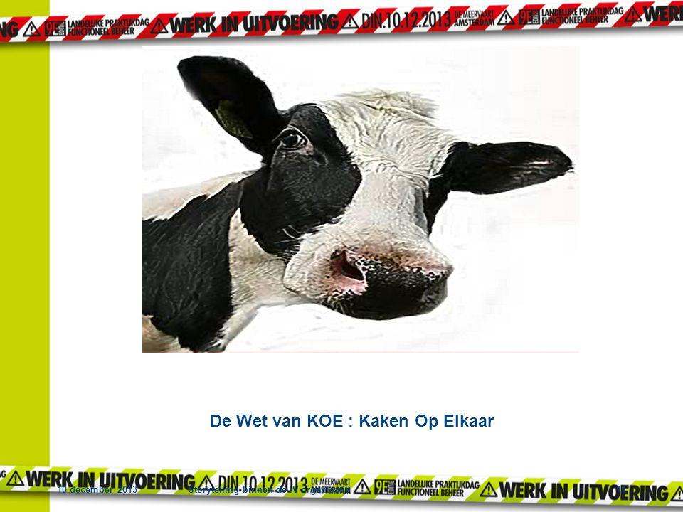 10 december 2013Storytelling binnen de IV organisatie11 Tot slot De Wet van KOE : Kaken Op Elkaar