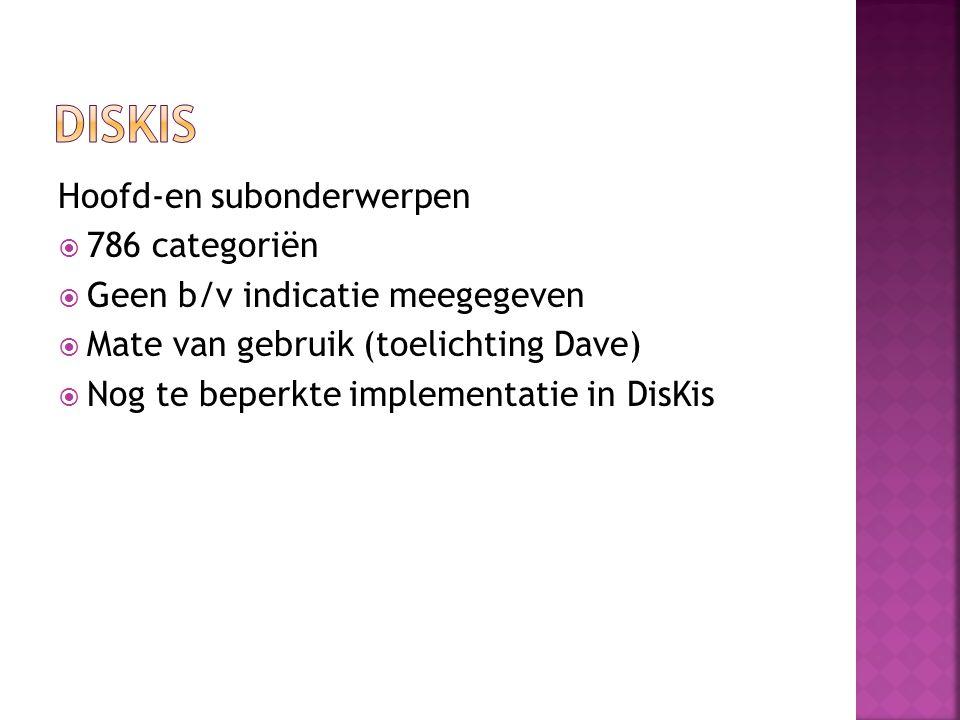 Hoofd-en subonderwerpen  786 categoriën  Geen b/v indicatie meegegeven  Mate van gebruik (toelichting Dave)  Nog te beperkte implementatie in DisKis