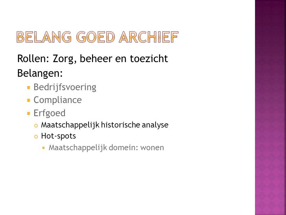 Rollen: Zorg, beheer en toezicht Belangen:  Bedrijfsvoering  Compliance  Erfgoed Maatschappelijk historische analyse Hot-spots Maatschappelijk domein: wonen