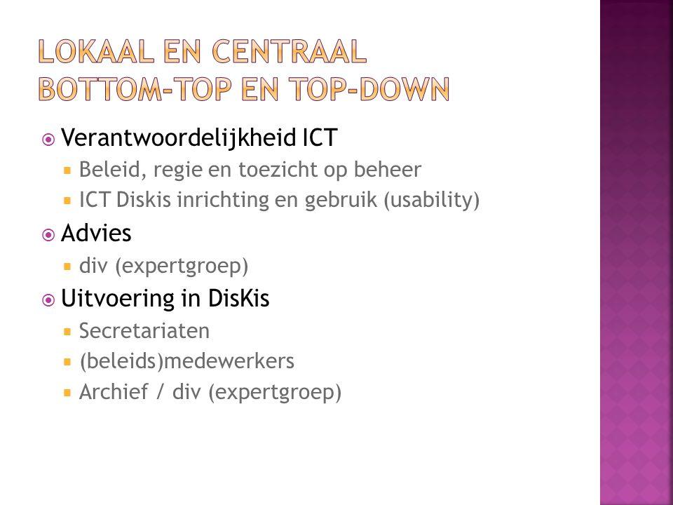  Verantwoordelijkheid ICT  Beleid, regie en toezicht op beheer  ICT Diskis inrichting en gebruik (usability)  Advies  div (expertgroep)  Uitvoering in DisKis  Secretariaten  (beleids)medewerkers  Archief / div (expertgroep)