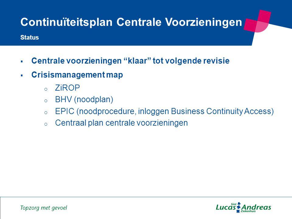 12  Centrale voorzieningen klaar tot volgende revisie  Crisismanagement map o ZiROP o BHV (noodplan) o EPIC (noodprocedure, inloggen Business Continuity Access) o Centraal plan centrale voorzieningen Continuïteitsplan Centrale Voorzieningen Status