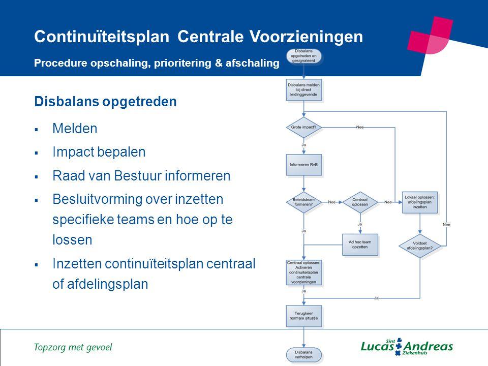 7 Disbalans opgetreden  Melden  Impact bepalen  Raad van Bestuur informeren  Besluitvorming over inzetten specifieke teams en hoe op te lossen  Inzetten continuïteitsplan centraal of afdelingsplan Continuïteitsplan Centrale Voorzieningen Procedure opschaling, prioritering & afschaling