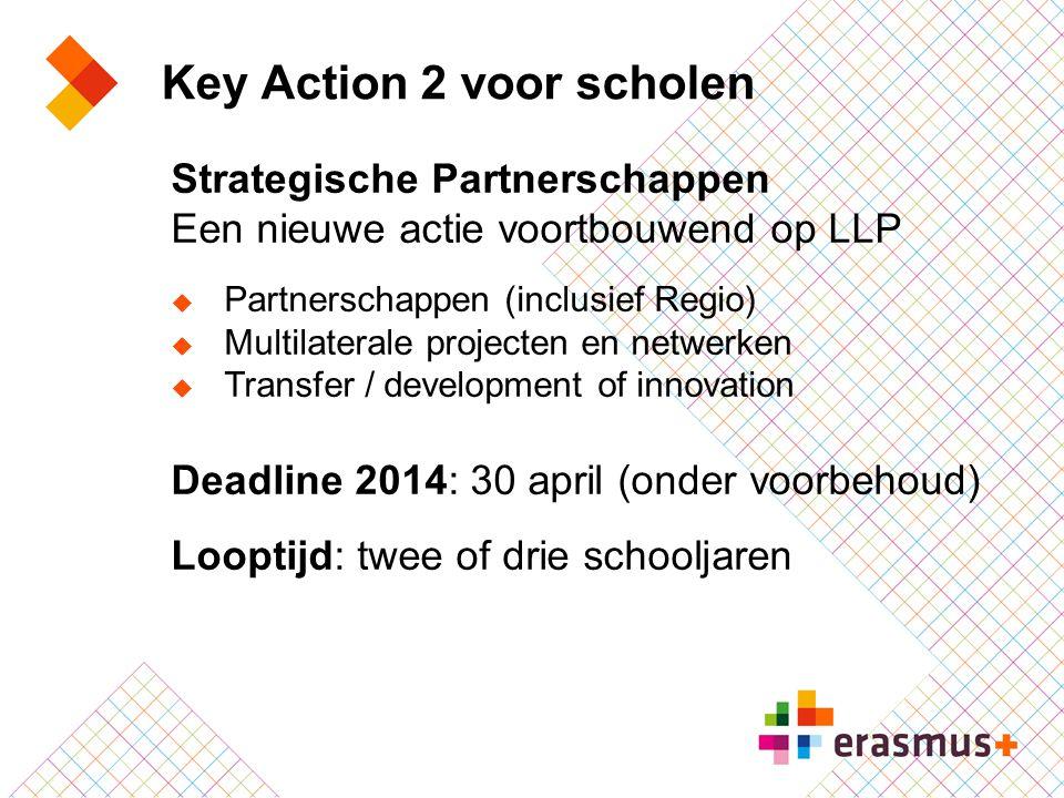 Key Action 2 voor scholen Strategische Partnerschappen Een nieuwe actie voortbouwend op LLP  Partnerschappen (inclusief Regio)  Multilaterale projec