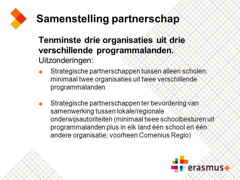 Samenstelling partnerschap Tenminste drie organisaties uit drie verschillende programmalanden. Uitzonderingen:  Strategische partnerschappen tussen a