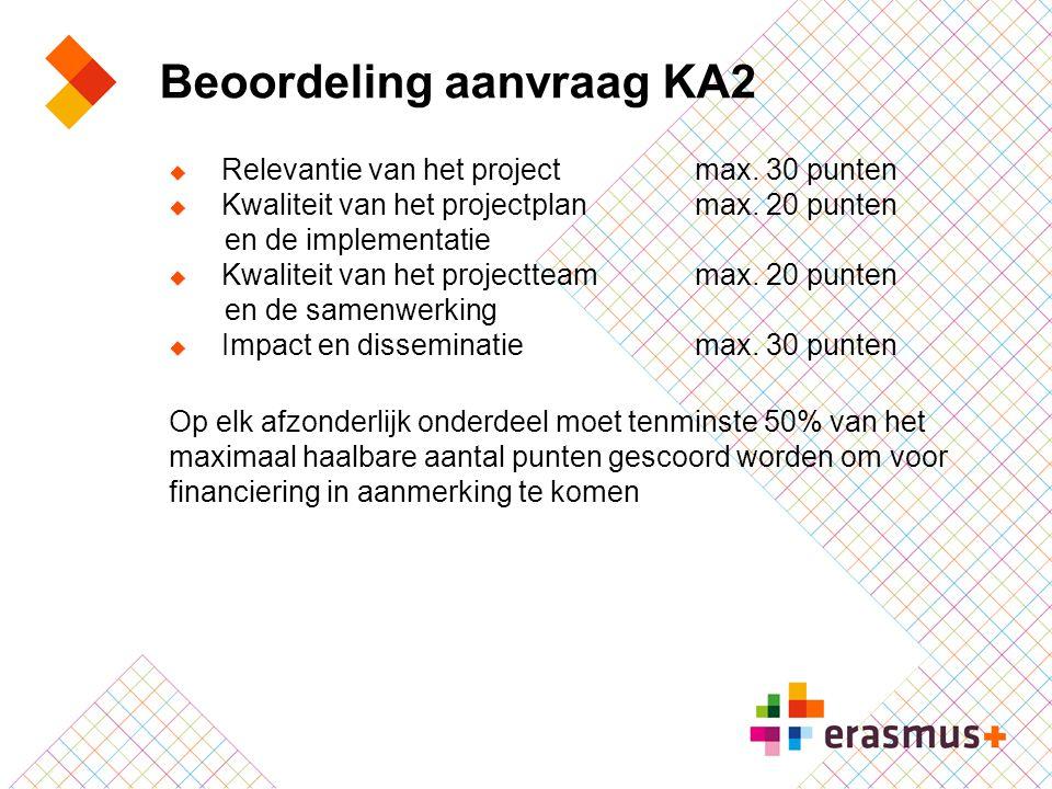 Beoordeling aanvraag KA2  Relevantie van het project max. 30 punten  Kwaliteit van het projectplan max. 20 punten en de implementatie  Kwaliteit va