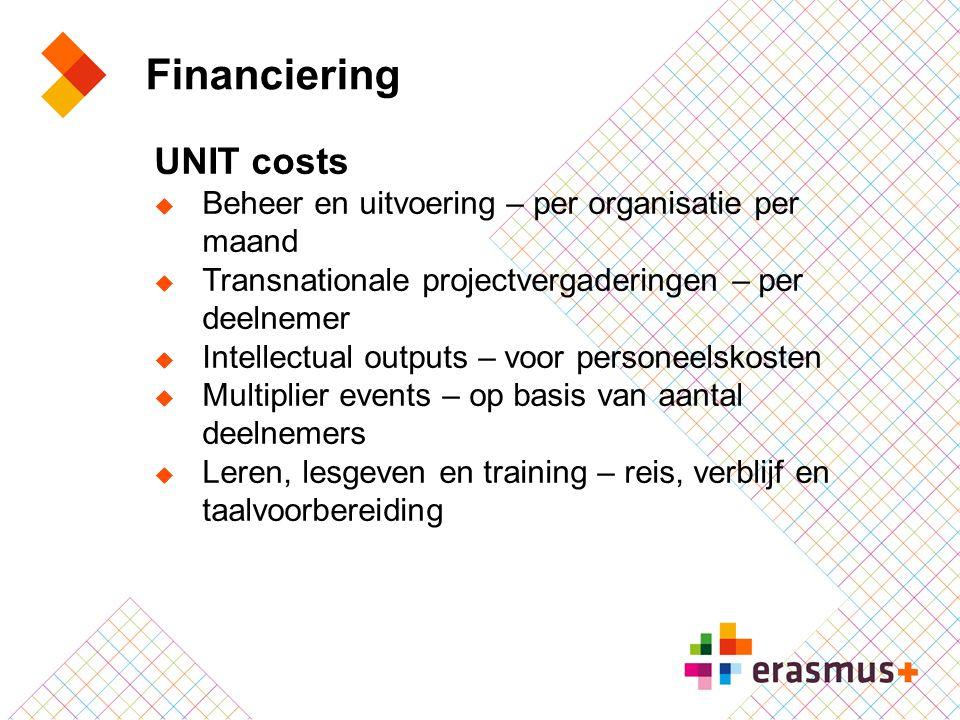 Financiering UNIT costs  Beheer en uitvoering – per organisatie per maand  Transnationale projectvergaderingen – per deelnemer  Intellectual output