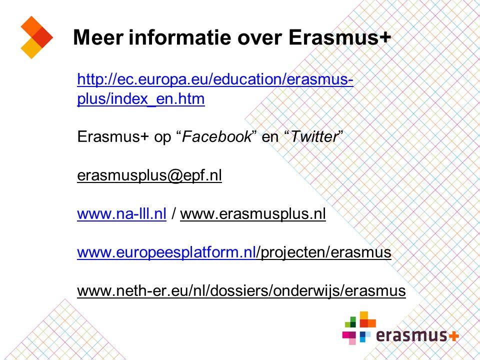 "Meer informatie over Erasmus+ http://ec.europa.eu/education/erasmus- plus/index_en.htm Erasmus+ op ""Facebook"" en ""Twitter"" erasmusplus@epf.nl www.na-l"