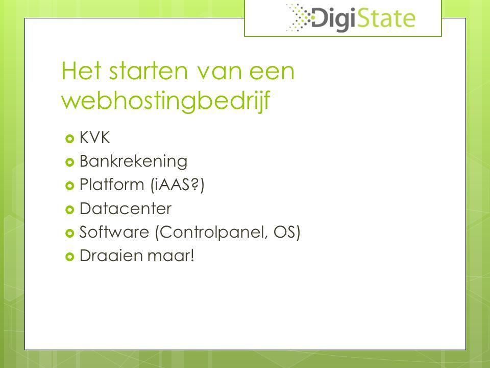 Het starten van een webhostingbedrijf  KVK  Bankrekening  Platform (iAAS )  Datacenter  Software (Controlpanel, OS)  Draaien maar!