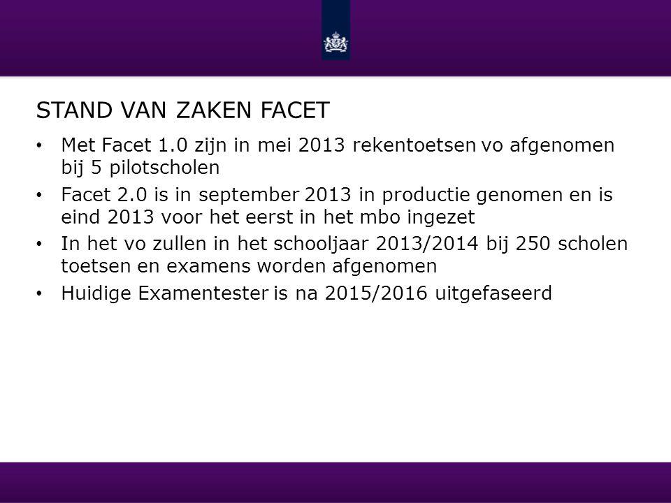 STAND VAN ZAKEN FACET Met Facet 1.0 zijn in mei 2013 rekentoetsen vo afgenomen bij 5 pilotscholen Facet 2.0 is in september 2013 in productie genomen
