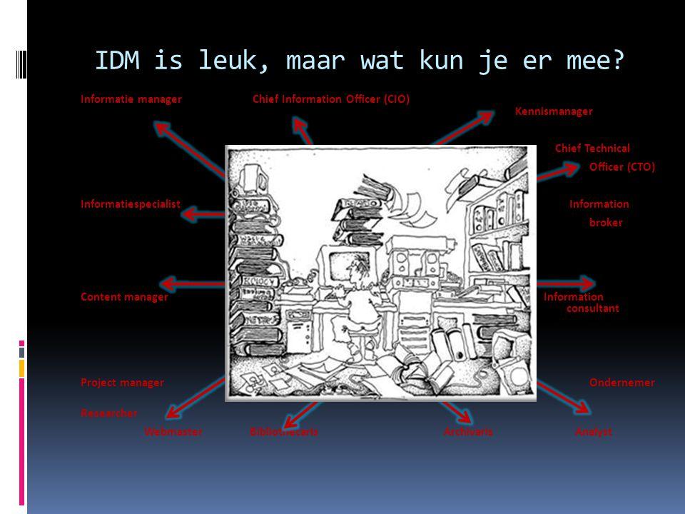 IDM is leuk, maar wat kun je er mee? Informatie manager Chief Information Officer (CIO) Kennismanager Chief Technical Officer (CTO) Informatiespeciali