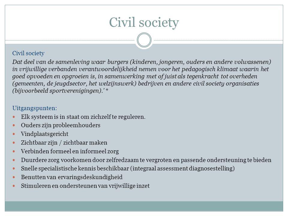 Civil society Dat deel van de samenleving waar burgers (kinderen, jongeren, ouders en andere volwassenen) in vrijwillige verbanden verantwoordelijkhei