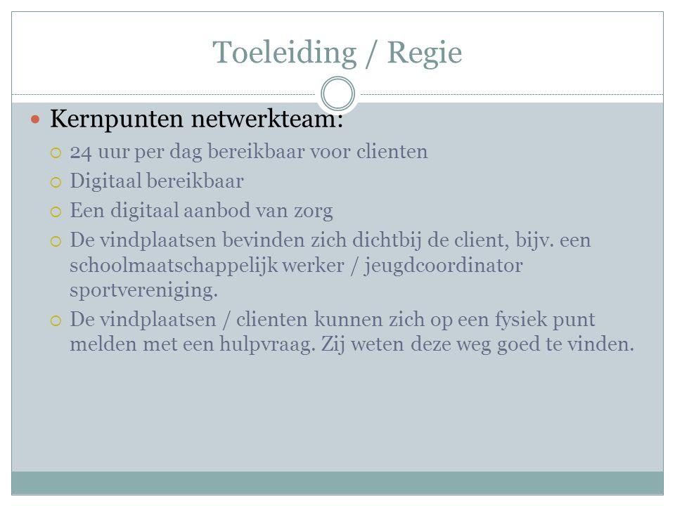 Toeleiding / Regie Kernpunten netwerkteam:  24 uur per dag bereikbaar voor clienten  Digitaal bereikbaar  Een digitaal aanbod van zorg  De vindplaatsen bevinden zich dichtbij de client, bijv.