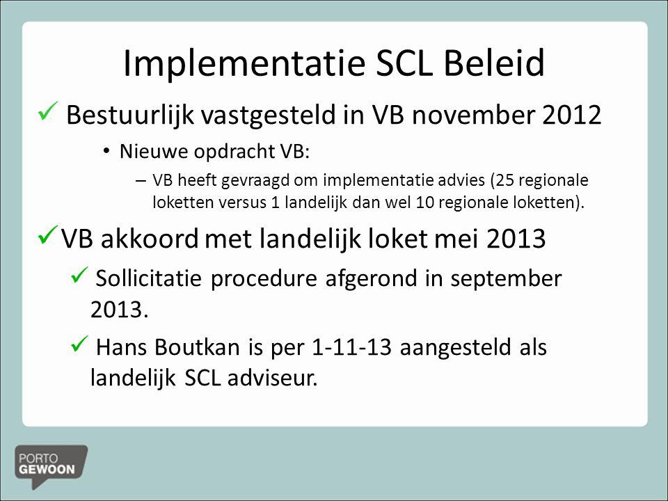 Implementatie SCL Beleid Bestuurlijk vastgesteld in VB november 2012 Nieuwe opdracht VB: – VB heeft gevraagd om implementatie advies (25 regionale loketten versus 1 landelijk dan wel 10 regionale loketten).