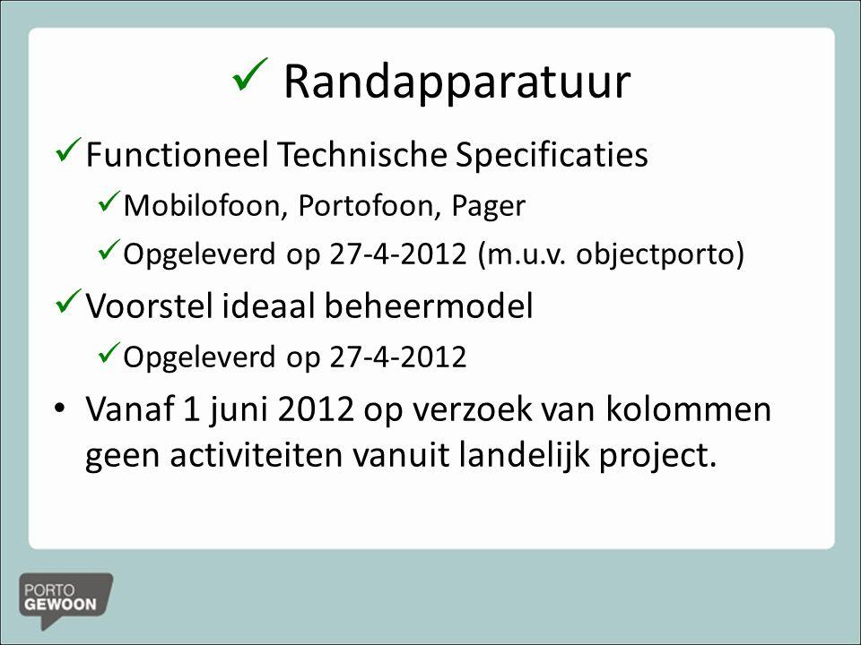 Randapparatuur Functioneel Technische Specificaties Mobilofoon, Portofoon, Pager Opgeleverd op 27-4-2012 (m.u.v.