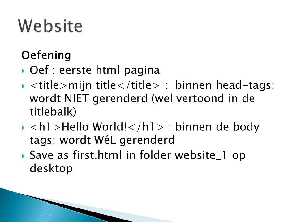Oefening  Oef : eerste html pagina  mijn title : binnen head-tags: wordt NIET gerenderd (wel vertoond in de titlebalk)  Hello World.