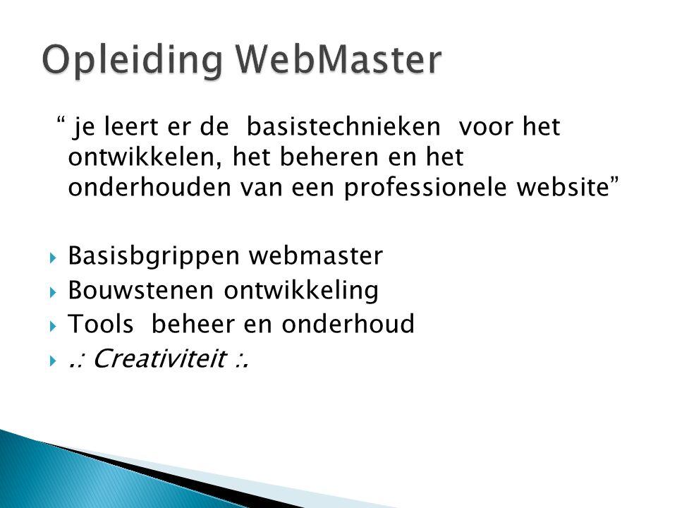 je leert er de basistechnieken voor het ontwikkelen, het beheren en het onderhouden van een professionele website  Basisbgrippen webmaster  Bouwstenen ontwikkeling  Tools beheer en onderhoud .: Creativiteit :.