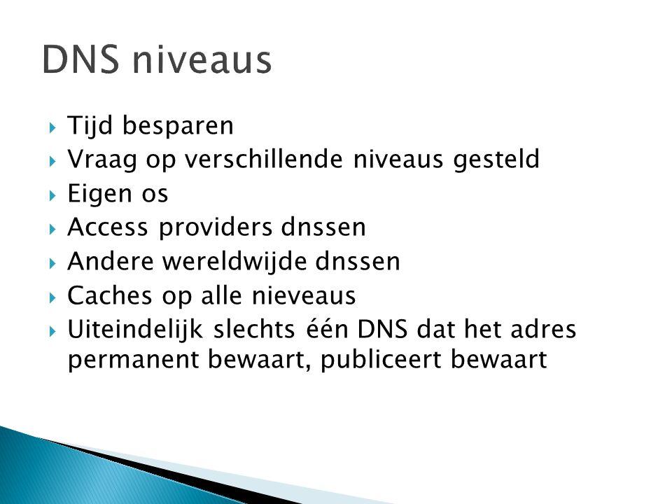  Tijd besparen  Vraag op verschillende niveaus gesteld  Eigen os  Access providers dnssen  Andere wereldwijde dnssen  Caches op alle nieveaus  Uiteindelijk slechts één DNS dat het adres permanent bewaart, publiceert bewaart