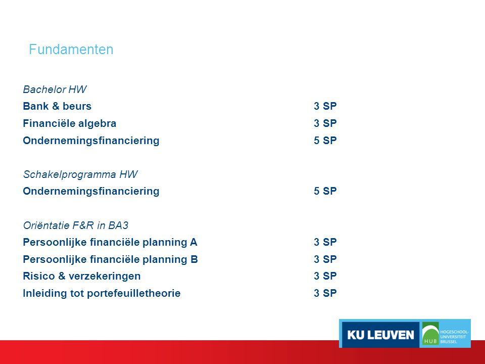 Oriëntatie F&R in BA3 (12 SP) Persoonlijke financiële planning A & B (3SP en 3 SP) - Personal finance : vermogensbeheer van een privépersoon - Juridische en fiscale aspecten van vermogensbeheer en vermogensplanning - Toepassing in consulting, banking, persoonlijke planning Gerda Elsen Anton van Zantbeek Inleiding tot portefeuilletheorie (3SP) - Portefeuilletheorie: risk and return, diversificatie, kapitaalkost - Toegepast op aandelen-, obligatie- en gemengde portefeuilles Geert Van Campenhout