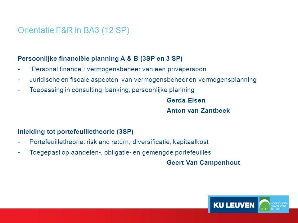 Oriëntatie F&R in BA3 (12 SP) Risico en verzekeringen (3 SP) - Pijlersysteem in de sociale zekerheid: publiek, collectief, individueel - Algemene inleiding tot het verzekeringsvraagstuk met focus op schadeverzekeringen: risico, aansprakelijkheid & dekking Jean Rogge