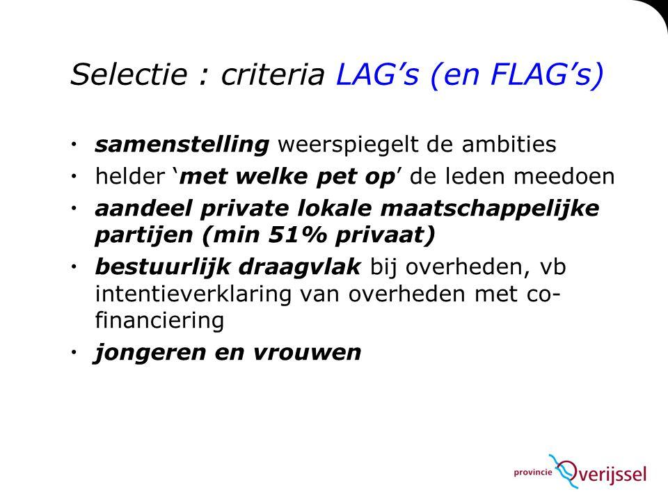 Selectie : criteria LAG's (en FLAG's)  samenstelling weerspiegelt de ambities  helder 'met welke pet op' de leden meedoen  aandeel private lokale m