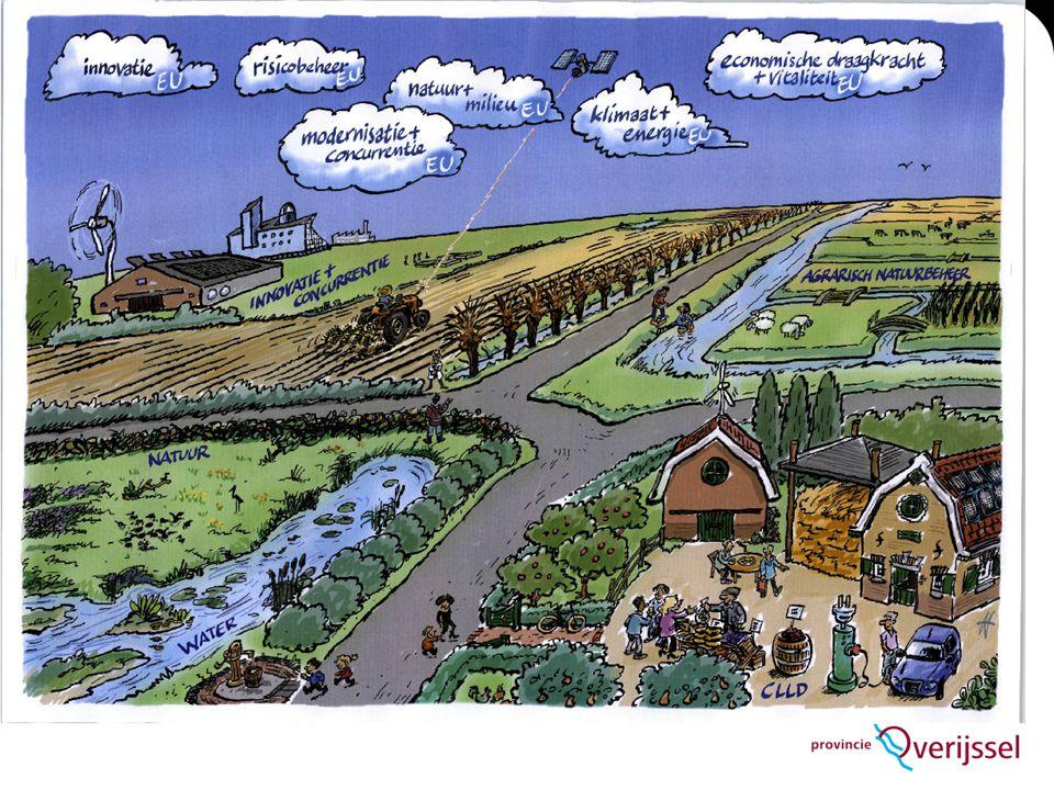 POP3 Aandachtsgebieden  Biodiversiteit en Natura 2000 (Agrarisch Natuurbeheer (ANB) en Ganzenakkoord op basis van landelijke afspraken en inrichting en beheer EHS;  Herstructurering landbouwbedrijven (landinrichting);  Innovatie (agrifood en bio-economy);  Waterbeheer/infrastructuur (Kaderrichtlijn Water);  CLLD (LEADER-aanpak:leefbaarheid platteland).