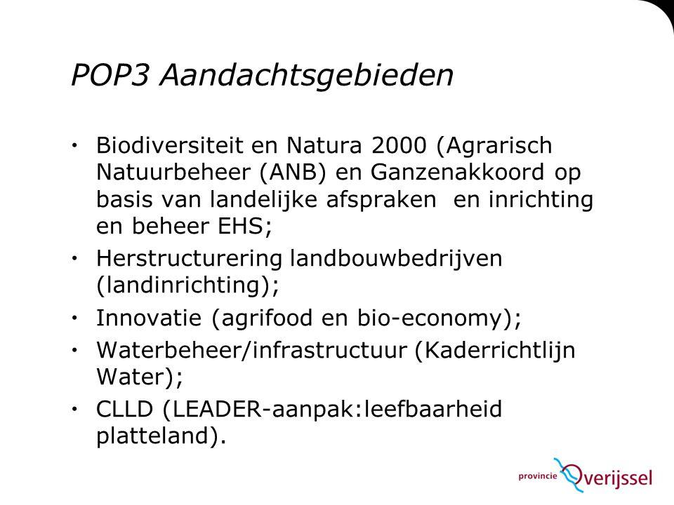 POP3 Planning deel 1  Najaar 2013: schrijven van maatregelfiches  11 november: Bestuurlijk overleg EZ-IPO over hoofdlijnen programma  November: def.