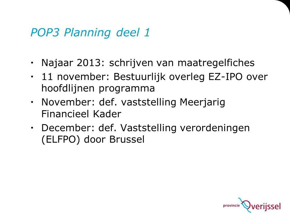 POP3 Planning deel 1  Najaar 2013: schrijven van maatregelfiches  11 november: Bestuurlijk overleg EZ-IPO over hoofdlijnen programma  November: def
