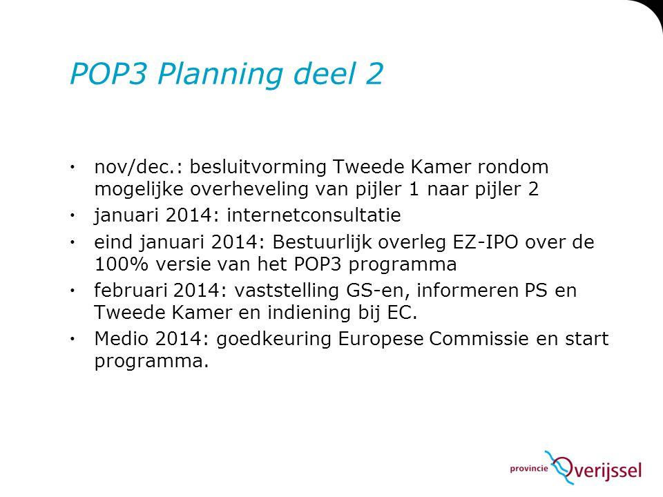 POP3 Planning deel 2  nov/dec.: besluitvorming Tweede Kamer rondom mogelijke overheveling van pijler 1 naar pijler 2  januari 2014: internetconsulta