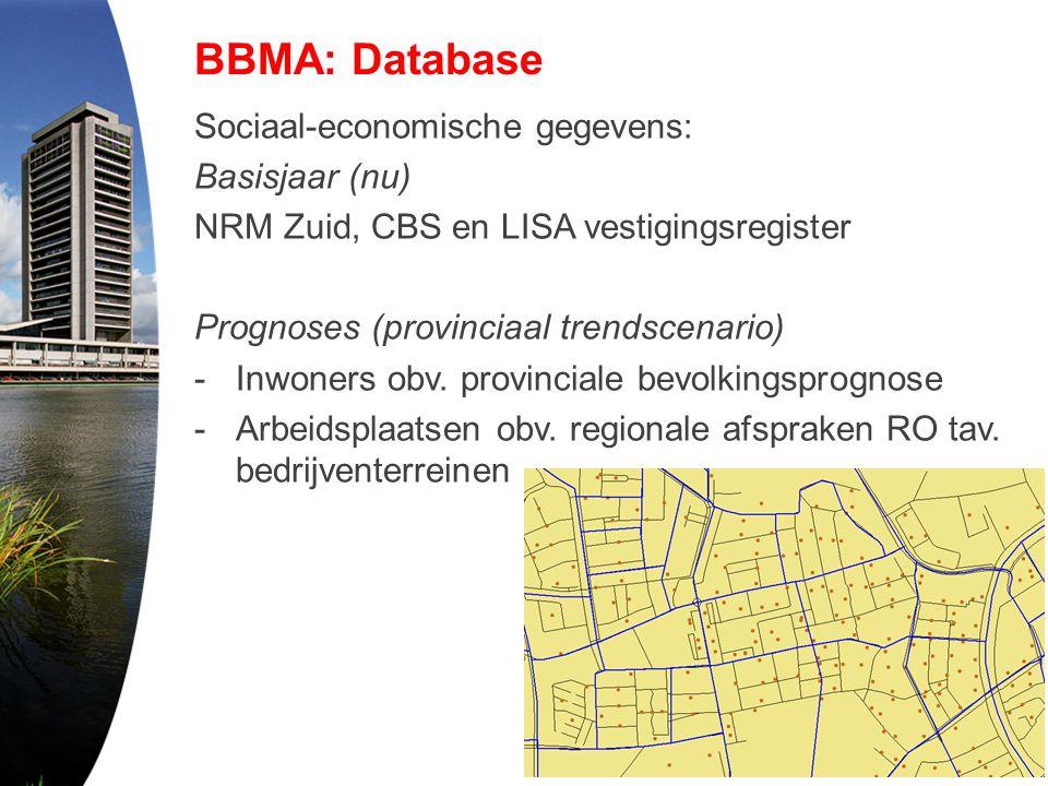 BBMA: Database Sociaal-economische gegevens: Basisjaar (nu) NRM Zuid, CBS en LISA vestigingsregister Prognoses (provinciaal trendscenario) -Inwoners o