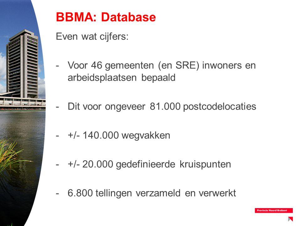 BBMA: Database Even wat cijfers: -Voor 46 gemeenten (en SRE) inwoners en arbeidsplaatsen bepaald -Dit voor ongeveer 81.000 postcodelocaties -+/- 140.0