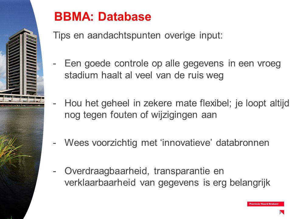 BBMA: Database Tips en aandachtspunten overige input: -Een goede controle op alle gegevens in een vroeg stadium haalt al veel van de ruis weg -Hou het