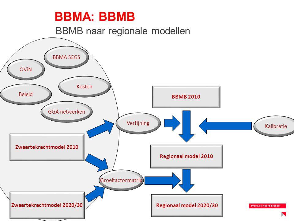 BBMA: BBMB Regionaal model 2010 Regionaal model 2020/30 Zwaartekrachtmodel 2010 BBMB 2010 Verfijning OViN BBMA SEGS GGA netwerken Kosten Beleid Zwaart