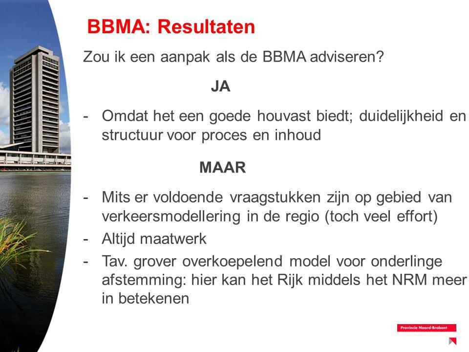 BBMA: Resultaten Zou ik een aanpak als de BBMA adviseren? -Omdat het een goede houvast biedt; duidelijkheid en structuur voor proces en inhoud JA MAAR