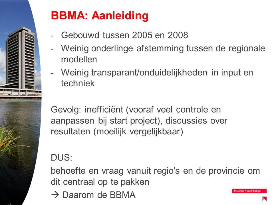 - Gebouwd tussen 2005 en 2008 - Weinig onderlinge afstemming tussen de regionale modellen - Weinig transparant/onduidelijkheden in input en techniek G