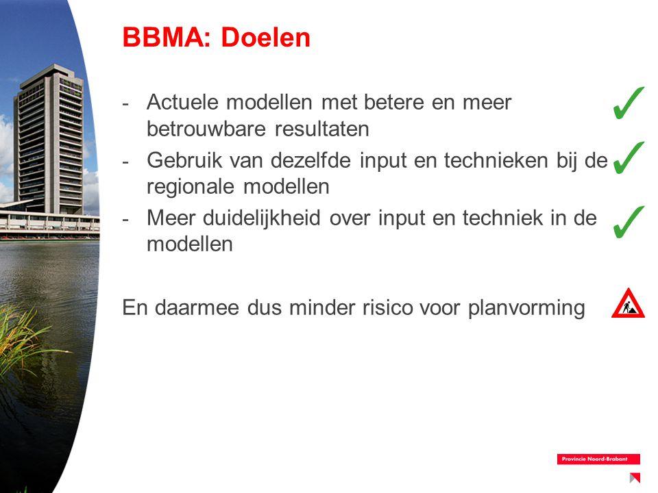BBMA: Doelen - Actuele modellen met betere en meer betrouwbare resultaten - Gebruik van dezelfde input en technieken bij de regionale modellen - Meer