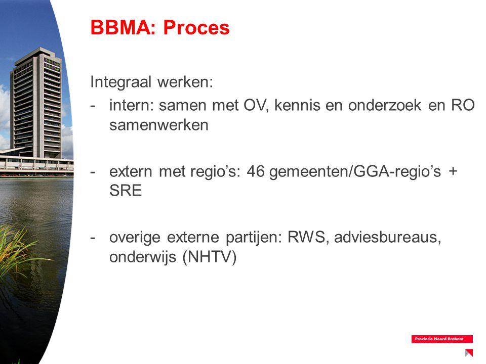 BBMA: Proces Integraal werken: -intern: samen met OV, kennis en onderzoek en RO samenwerken -extern met regio's: 46 gemeenten/GGA-regio's + SRE -overi