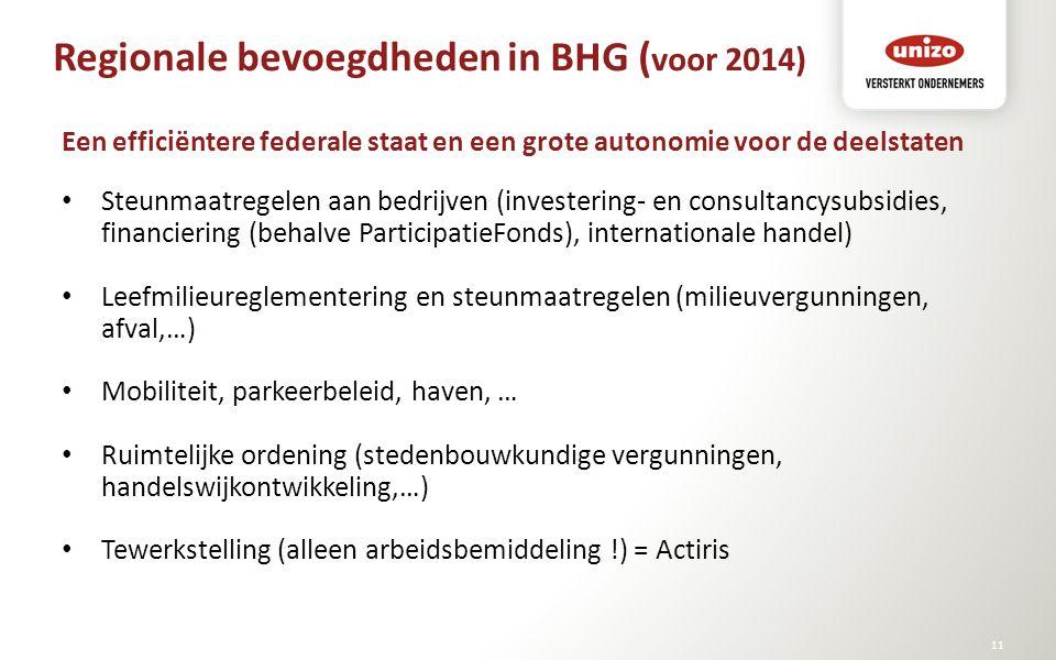 Regionale bevoegdheden in BHG ( voor 2014) © Unizo11 Een efficiëntere federale staat en een grote autonomie voor de deelstaten Steunmaatregelen aan be