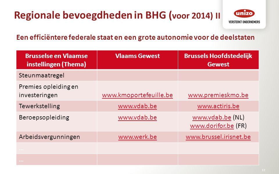 Regionale bevoegdheden in BHG ( voor 2014) II © Unizo12 Een efficiëntere federale staat en een grote autonomie voor de deelstaten Brusselse en Vlaamse