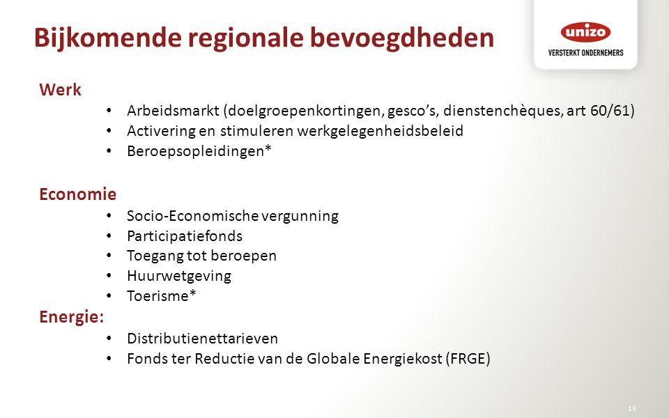 Bijkomende regionale bevoegdheden © Unizo13 Werk Arbeidsmarkt (doelgroepenkortingen, gesco's, dienstenchèques, art 60/61) Activering en stimuleren wer