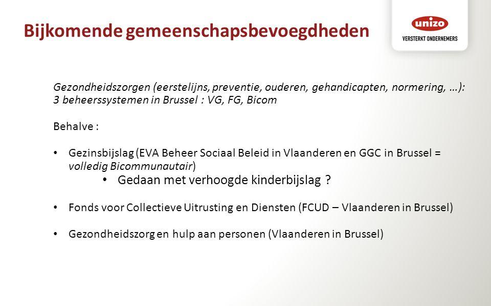 Bijkomende gemeenschapsbevoegdheden Gezondheidszorgen (eerstelijns, preventie, ouderen, gehandicapten, normering, …): 3 beheerssystemen in Brussel : V