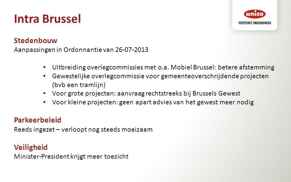 Intra Brussel Stedenbouw Aanpassingen in Ordonnantie van 26-07-2013 Uitbreiding overlegcommissies met o.a. Mobiel Brussel: betere afstemming Gewesteli