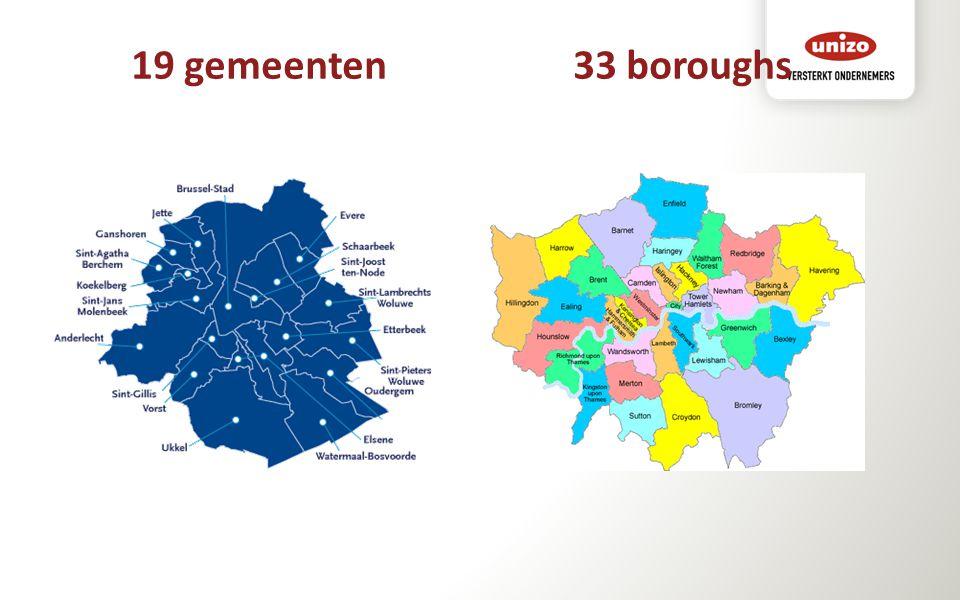 19 gemeenten 33 boroughs