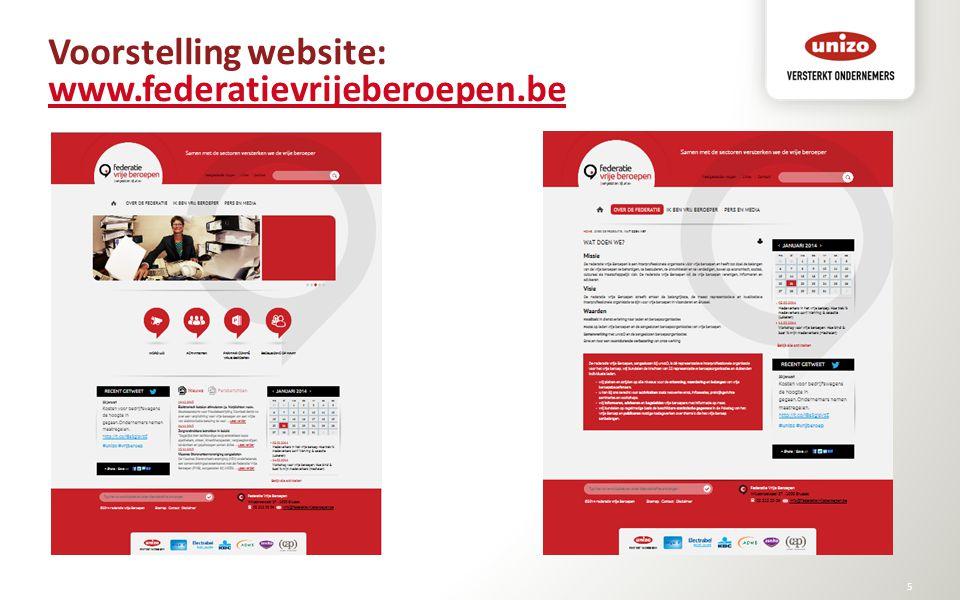 Voorstelling website: www.federatievrijeberoepen.be www.federatievrijeberoepen.be © Unizo5