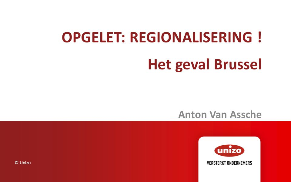 Enkele kerncijfers © Unizo7 1,1 mio inwoners, 161 km2 Budget : (2013) 3,5 mia € (gewest budget) (25 % mobiliteit, 5 % huisvesting, 10 % afval/leefmilieu, 15 % economie en tewerkstelling, 20 % overheid, 15 % gemeenten en 10 % gemeenschappen) Arbeidsmarktparadox Tewerkstelling in Brussel : 700.000 arbeidsplaatsen (15 % van België) Beroepsactieven in Brussel (potentieel) = 450.000 Tewerkstellingsgraad : 54,8 % tov 64,9 in Vlaanderen : Welvaartsparadox : BBP Brussel = 20 % van het Belgische BBP Index BBP per inwoner (België = 100) : Bsl : 197 / Vlaanderen : 99 Index Gemiddelde belastbaar inkomen : Bsl : 86 / Vlaanderen : 107